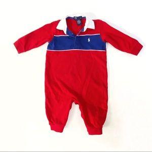Ralph Lauren red blue collared onesie bodysuit